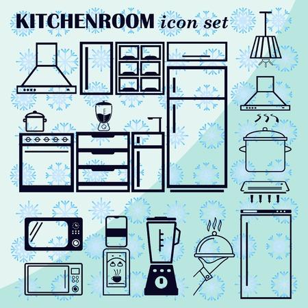 Home interior design icon, Kitchen icon, dining icon set, vector illustration. Flat design style.