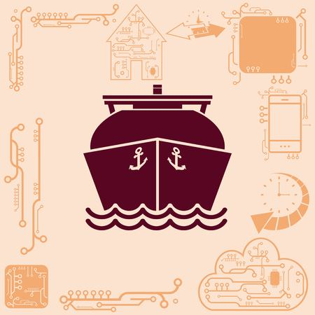 cruiser: Ship icon, LNG gas carrier,  vector illustration. Flat design style.