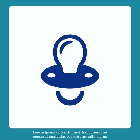 Babys dummy sign icon. Child pacifier symbol, vector illustration. Flat design style
