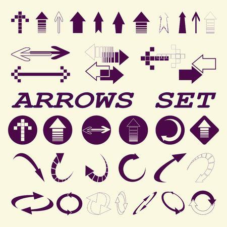 designator: Arrow indicates the direction icons set, vector illustration. Flat design style Illustration