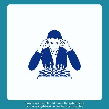 tactical: A man in a suit sitting at a table with chess. Businessman ponders a strategic plan, tactical solutions.