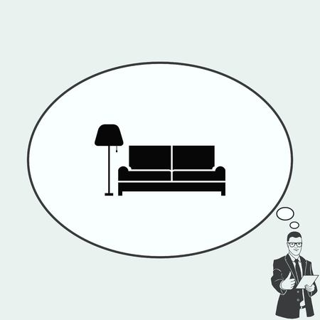 living room design: Home interior design icon, sofa icon, living room, vector illustration. Flat design style.