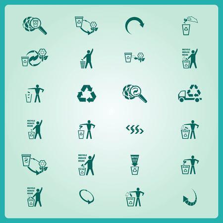 Plaats prullenbak iconen, pictogrammen recycleren, ecologie iconen set. Flat Vector illustratie