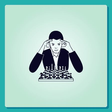 strategic plan: A man in a suit sitting at a table with chess. Businessman ponders a strategic plan, tactical solutions.