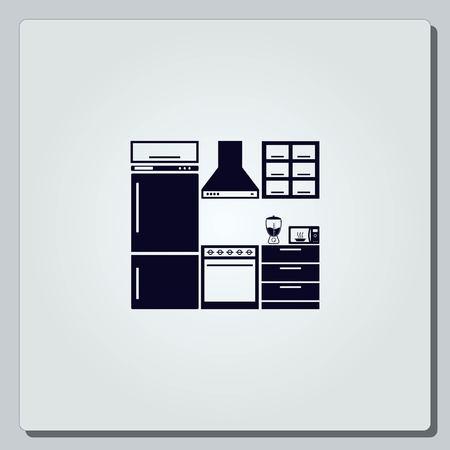 Home interior design icon, Kitchen icon, dining icon, vector illustration. Flat design style. Vector Illustration