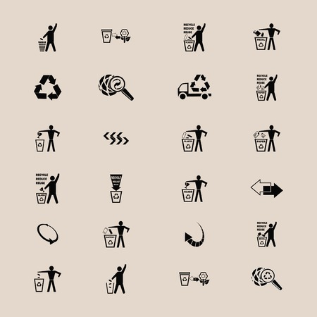 throw away: Place trash icons, recycle icons, ecology icons set. Flat Vector illustration Illustration