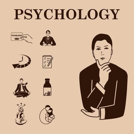 enigma: Psychology icon set, Psychologist icon,  vector illustration.