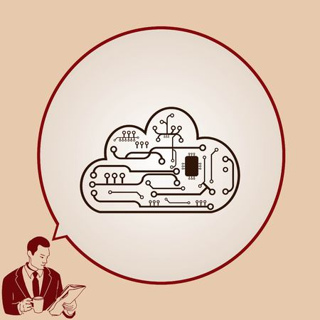 technology: Technology innovation icon. Cloud technology, vector illustration.
