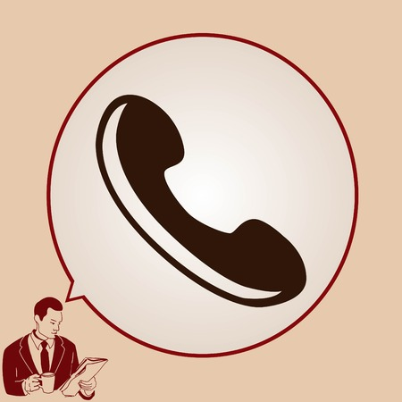 pleased: The handset, phone icon , vector illustration. Illustration