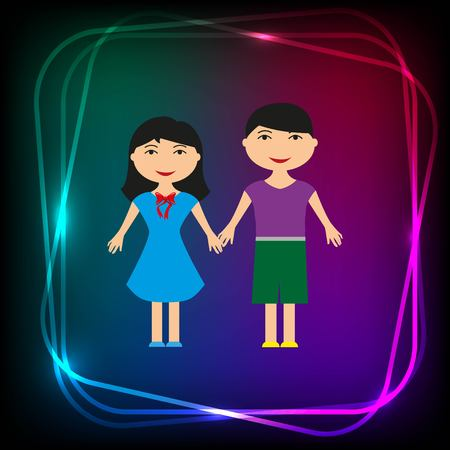 stylish avatar of girl and guy in flat design. Vector illustration
