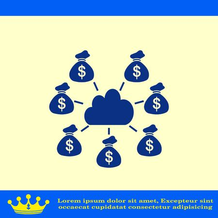 Financial Services Cloud, Money icon, Finance Icon, vector illustration. Flat design style