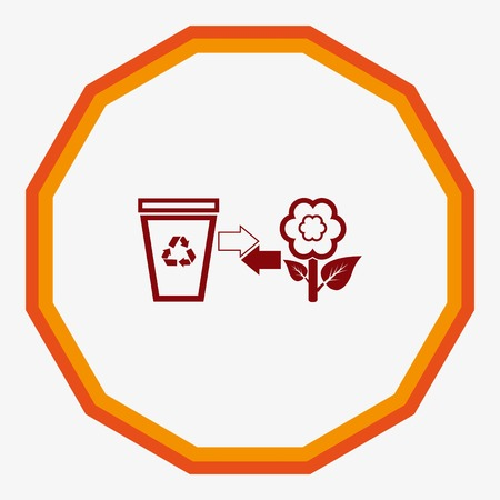 throw away: Place trash icon, recycle icon. Flat Vector illustration