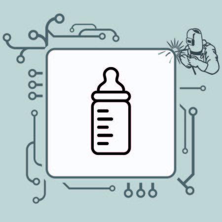 familiar: Baby bottle icon, vector illustration. Flat design style
