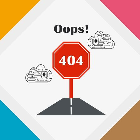 page not found: Page with a 404 error. Template reports that the page is not found, vector illustration.