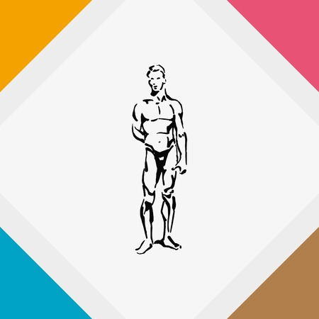 nude fashion model: Silhouette of athletic men. Beauty, glamor. Vector illustration. Handsome male athlete. Illustration