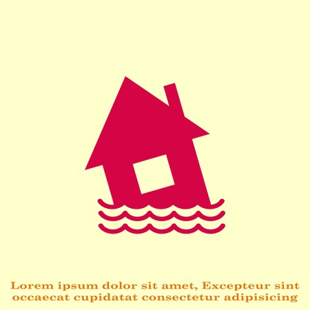 water damage: Flood icon. disaster. Typhoon. Tornado. The house is in the water. City water, vector illustration. Flat design style. Illustration