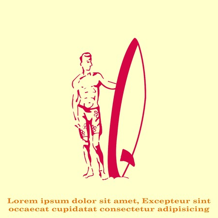 A man with a surfboard.  Vector illustration. Logo, icon. Illustration