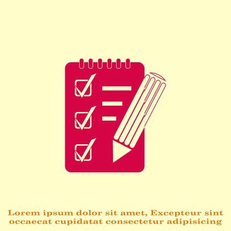 Notebook icon, vector illustration.