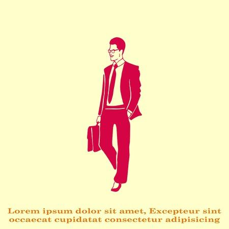 confident: Confident businessman with a briefcase. Vector illustration. Illustration
