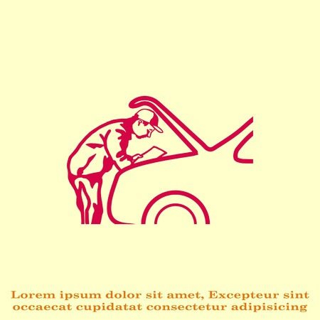 Automotive repair, Car Mechanic Vector Icon. Illustration