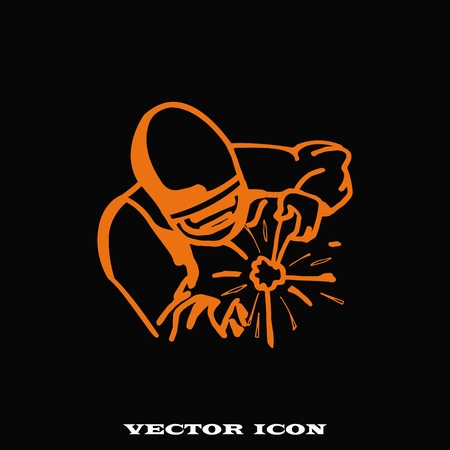 fabrication: Silhouette of a working welding with a torch icon. Vector illustration. Illustration