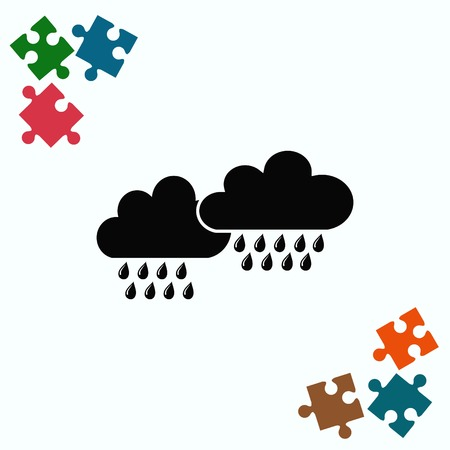 overcast: Dripping rain. Overcast. Vector illustration. Cloud rain symbol for your web site design.
