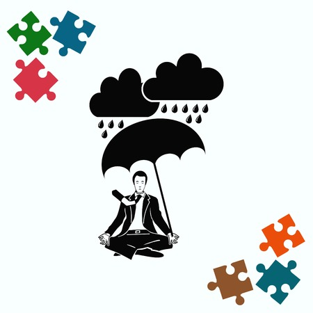 overcast: Dripping rain. Overcast. A man with an umbrella. Rain clouds. A man in a suit sitting meditating. Businessman relaxes. Vector illustration.