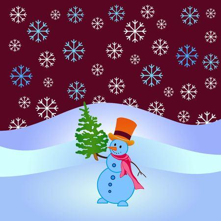 Snowman, vector illustration. Flat design style. Christmas card. New Year. Winter. Snowflake.