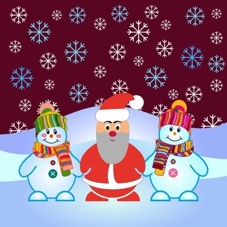 palle di neve: Snowman, vector illustration. Flat design style. Christmas card.