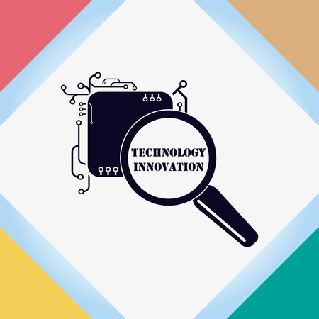 Technology innovation icon. Circuit board, microchip icon. Vector illustration.