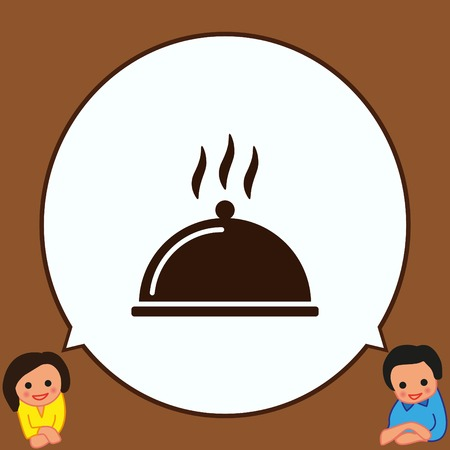 Covered with a tray of food icon. Vector illustration.