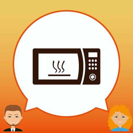 microondas: icono de los aparatos electrodomésticos. icono de microondas. Ilustración del vector. Batería de cocina.