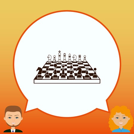 tactics: icon chess pieces, vector illustration. Illustration