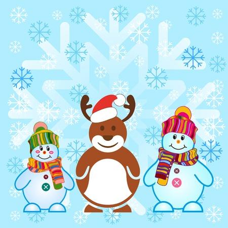 Snowman, vector illustration. Flat design style. Christmas card.