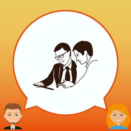 Two men in a suit reading the document. Business meeting. Discussion of business strategy. Handshake. Businessman ponders a strategic plan, tactical solutions. Vector illustration.