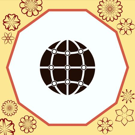 global communication icon, vector illustration. Flat design style