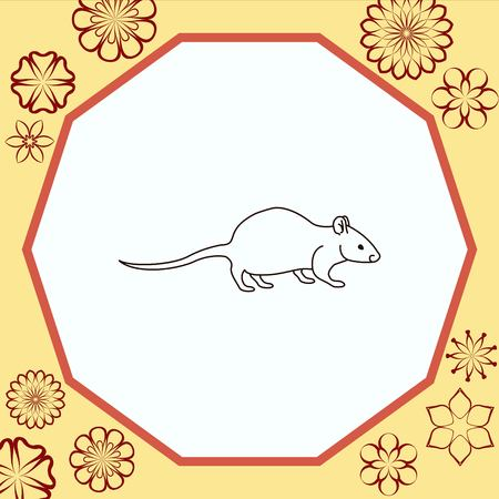 Mouse, rat, rodent pest icon.