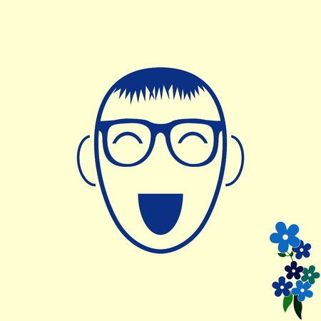 flat: Smiley icon. Flat Vector illustration
