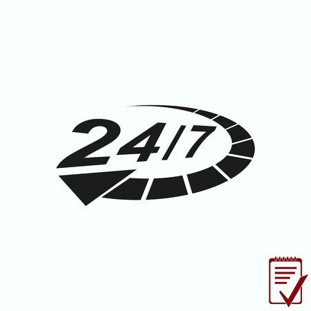 Open 24 7 icon with clock 일러스트