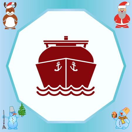 Ship icon, LNG gas carrier,  vector illustration. Flat design style.