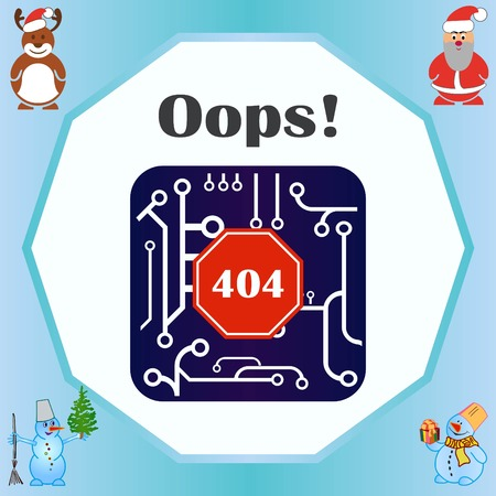 Page with a 404 error. Template reports that the page is not found, vector illustration.