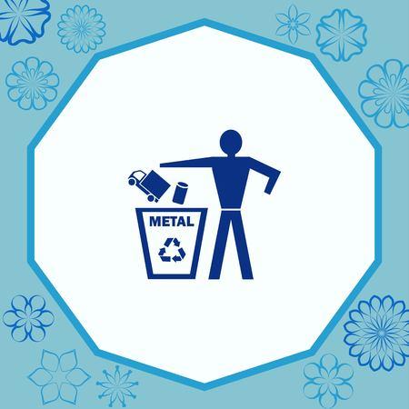 Gooi het afvalpictogram weg, recycle het pictogram Vector Illustratie