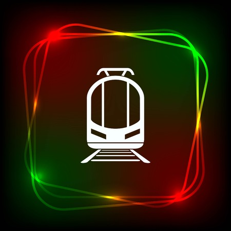 Passenger train, subway, Metro, public transport  icon, vector illustration. Flat design style