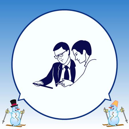 tactical: Two men in a suit reading the document. Business meeting. Discussion of business strategy. Handshake. Businessman ponders a strategic plan, tactical solutions. Vector illustration.