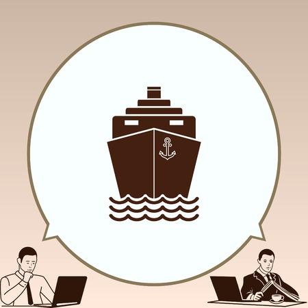 destination: Ship icon, vector illustration. Flat design style.