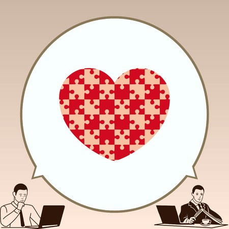 heart puzzle: Puzzle, human heart, vector illustration.