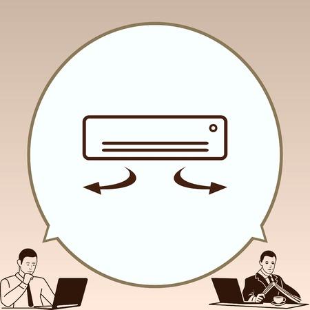 Icono de los aparatos electrodomésticos. Icono de aire acondicionado. Ilustración del vector. Sistema de división. Foto de archivo - 70939966