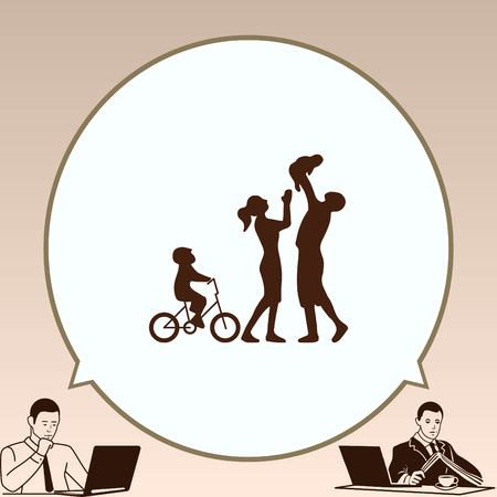 familiar: Family icon, vector illustration. Flat design style Illustration