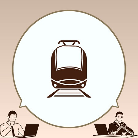 electric train: Passenger train, subway, Metro, public transport  icon, vector illustration. Flat design style