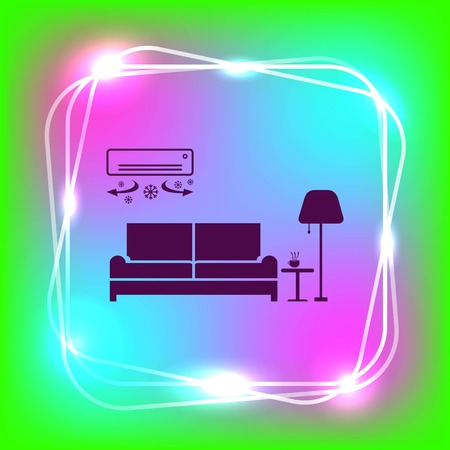 Home interior design icon, sofa icon, living room, vector illustration. Flat design style.